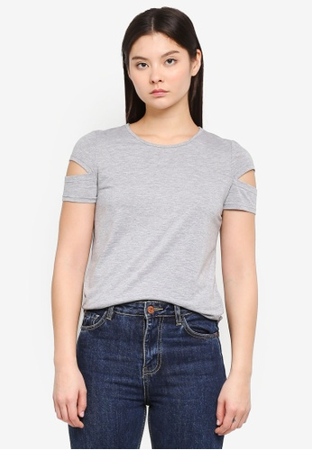 Something Borrowed grey Cut Out Sleeves Tee ACEF2AA7A9C34BGS_1