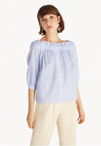 3fd1f9549c271 Buy Pomelo Frill Neck Striped Top - Blue Online on ZALORA Singapore