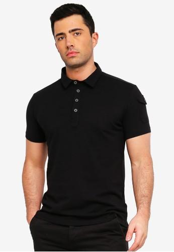 Brave Soul black Pique Polo Shirt 9FF0BAAE12A94CGS_1