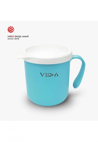 Viida [VIIDA] The Soufflé Kids Antibacterial Stainless Steel Cup with Lid 330ml/11oz, Blue - Eco-Friendly, Safe, FDA Certified, SGS Tested 71F1DHL306E358GS_1