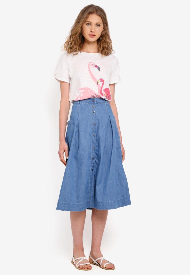 Woven Midi Skirt Blue Light ESPRIT zwOxYY
