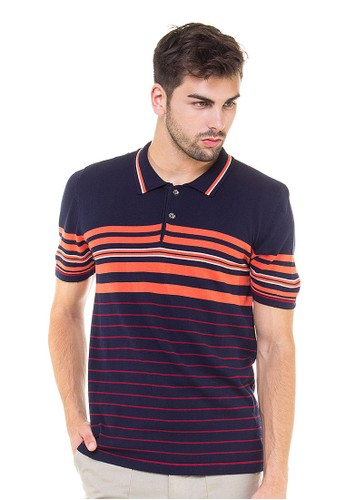 Knitwork Navy Custom Striped Polo Shirt