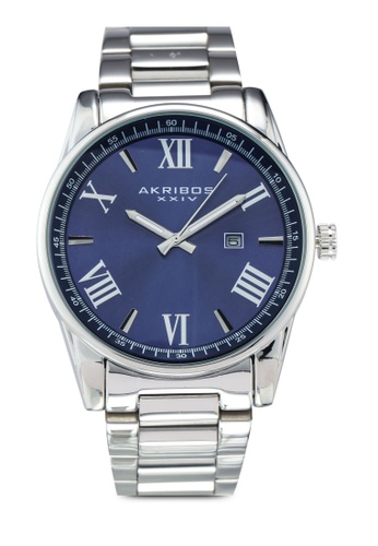 Akribos XXIV blue and silver Date Stainless Steel Watch 1044AACD63BDD0GS_1