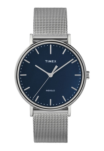 Timex blue and silver Timex Fairfield 37mm - Silver-Tone Case & Mesh Band (TW2T37000) BC0DCACC782B67GS_1