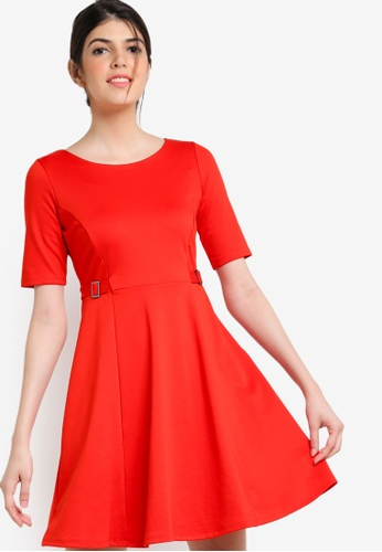 Wallis red Red Belted Fit And Flare Dress WA800AA02GSFMY_1