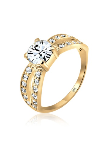 ELLI GERMANY gold Ring Crystals Glamor Gold Plated CE056AC3B633DEGS_1