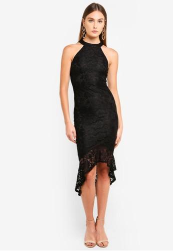 AX Paris black Racer Neck Lace Fish Tail Dress A0578AA887D141GS_1