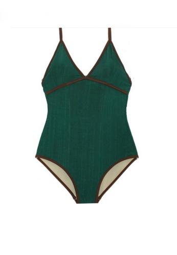 Twenty Eight Shoes green VANSA Stylish One-Piece Swimsuit  VCW-Sw19165 DE7E4US3A773BBGS_1