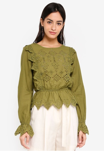 Miss Selfridge green Khaki Cutwork Broiderie Blouse 5661CAAFC0F078GS_1