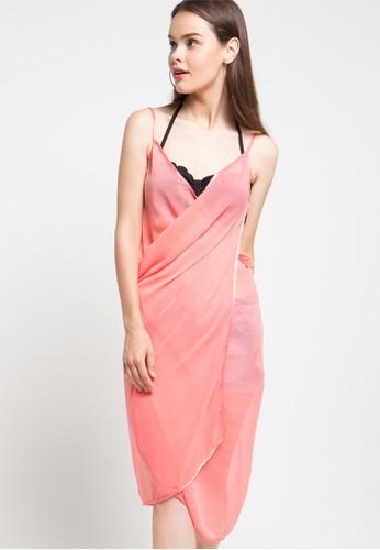 PINK AND PROPER orange Mira Chiffon Beach Cover Up Dress PI745US90XUNID_1