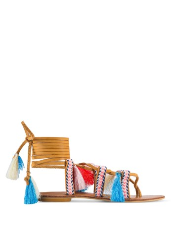 Velvet brown Play Geri Aztec Laced Up Sandals 4EE5CSH840A5CBGS_1