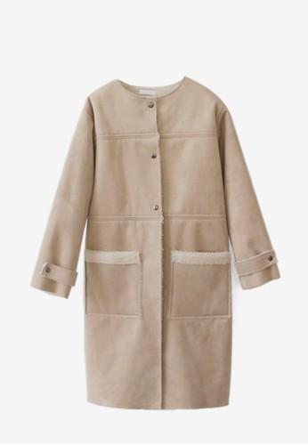 麂皮絨圓領大衣, 服飾,esprit 台灣官網 夾克 & 大衣