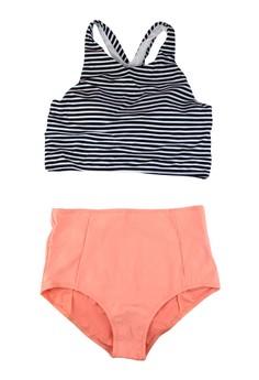 Jessica High Waist Stripes Retro Two Piece Swimwear