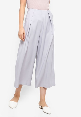 ZALORA BASICS grey Basic High Waisted Pleat Front Culottes 57745AA288FDF0GS_1