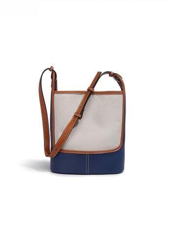 Twenty Eight Shoes blue Stylish Canvas Patch Faux Leather Color Contrast Bucket Bag JW FB-6767 BEB86AC11E9F44GS_1