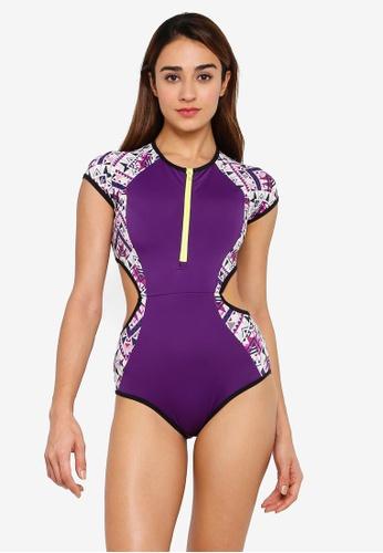 RUMPUNCH purple Tribal Dash Cut Out Swimsuit C6F0EUS4D6429FGS_1