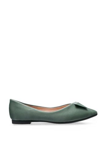 Twenty Two green Edwena Pointed Toe Ballerinas 19ECBSH41035B5GS_1