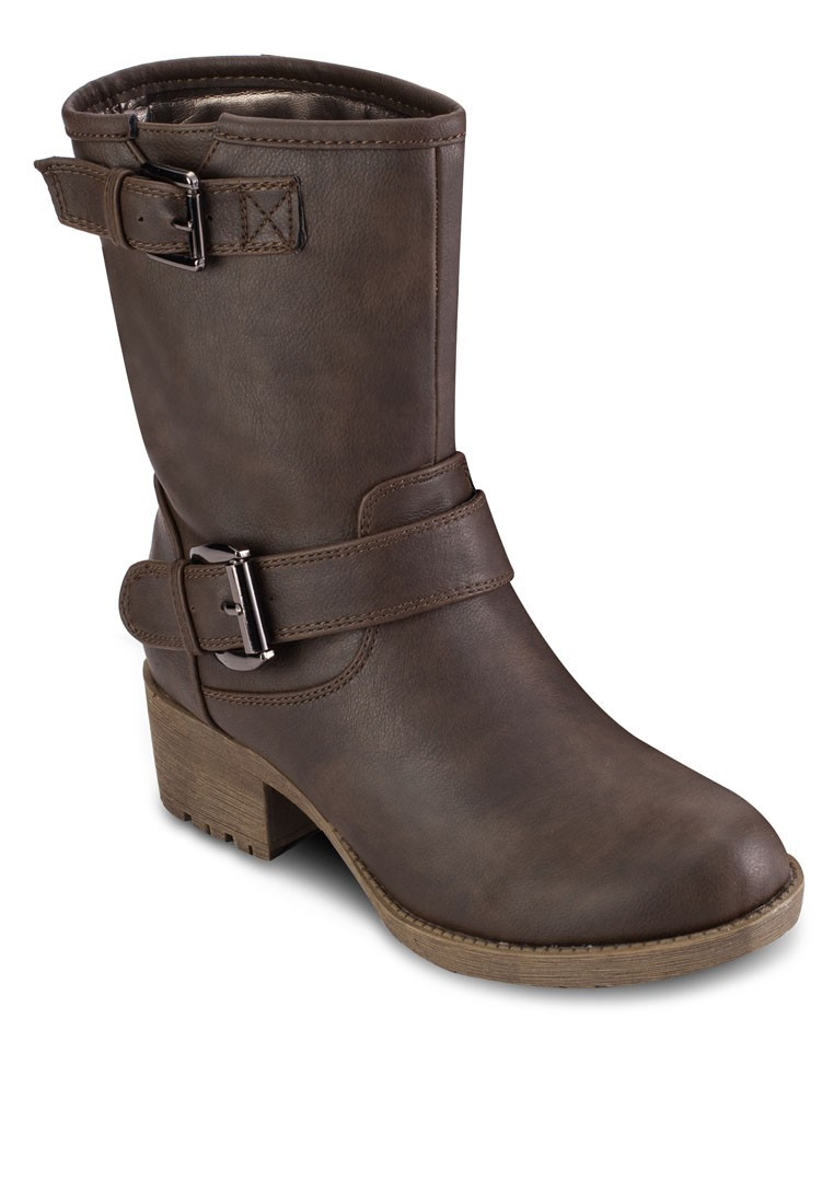 Mid-Height Low Heel Buckle Boots