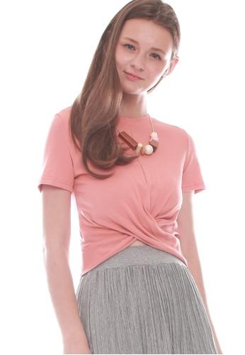 JOVET pink Pleat Front Tee 0C1E5AA99F5021GS_1