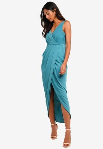 Forever New green Petite Victoria Wrap Dress 640F9AA49E82B3GS_1