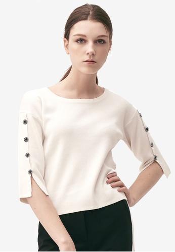 Kodz white Buttoned Sleeves Basic Top 2DA10AA1D334A0GS_1