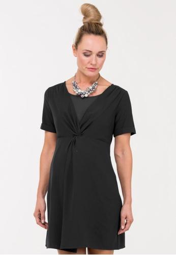 Bove by Spring Maternity black Woven Short Sleeves Bidelia Overlapping Dress IDN5101 BO010AA27HBCSG_1