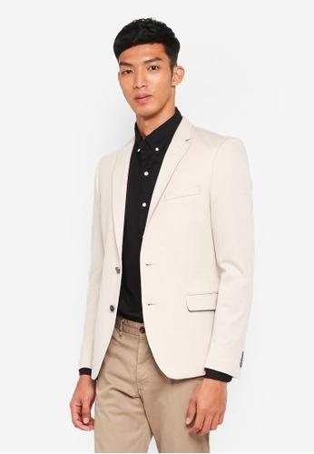 Burton Menswear London beige Stone Pique Jersey Blazer 4E35AAACD467DBGS_1