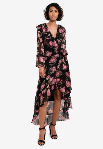 Miss Selfridge black Premium Rose Print Wrap Dress MI665AA0RV1SMY_1
