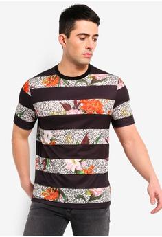 3897976a63a6a8 River Island black Floral Leopard Stripe Slim Fit T-Shirt 10E34AA67C5667GS 1