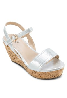 Two-Strap Cork Platform Wedges