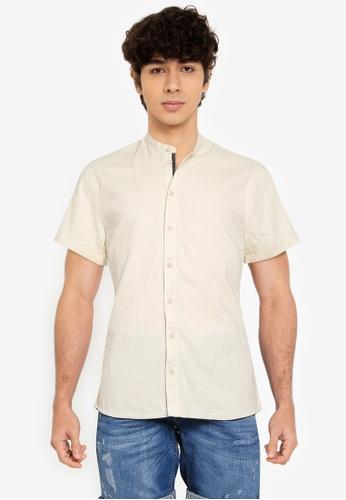 BLEND grey Grandad Collar Short Sleeve Shirt 161EBAAD053C2EGS_1