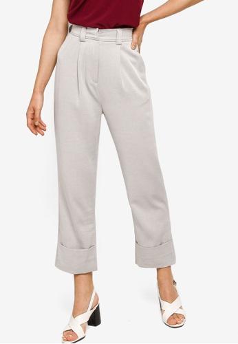 ZALORA WORK grey Fold Up Cuff Pants C9537AA9274200GS_1