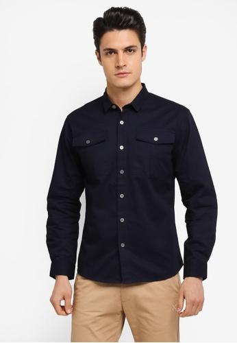 JAXON navy Patch Pockets Long Sleeves Shirt 3D7DEAA467150AGS_1