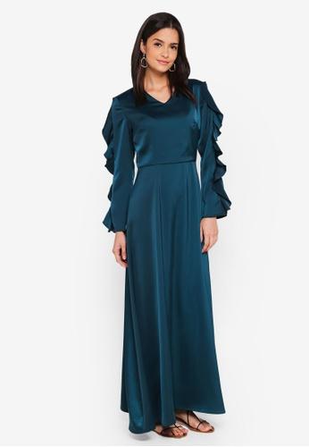 Zalia green Frill Sleeves Maxi Dress 886A4AA8FA20D6GS_1