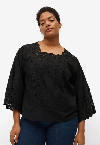 Violeta by MANGO black Plus Size Openwork Cotton Blouse 7EA39AAE2D02F7GS_1