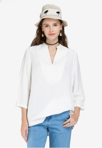 Hopeshow white V Neck Long Sleeve Blouse AB86BAA6940A89GS_1