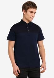 Burton Menswear London 海軍藍色 Navy And Cobalt Blue Colour Block Polo Shirt BU964AA0S9QRMY_1