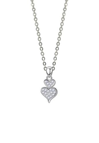 SC Tom Silver silver Double Heart Stone Pendant- SP246 w/chain SC872AC44KBBPH_1