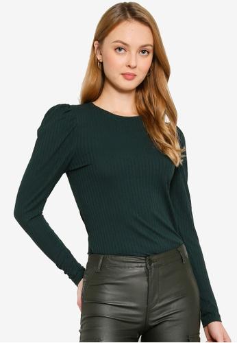 ONLY green Winnie Long Sleeve Puff Top 37084AA27270F2GS_1
