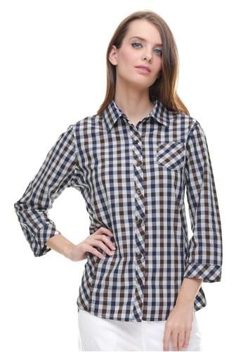 Jual Lgs Lgs Regular Fit Kemeja Wanita Motif Kotak Grey