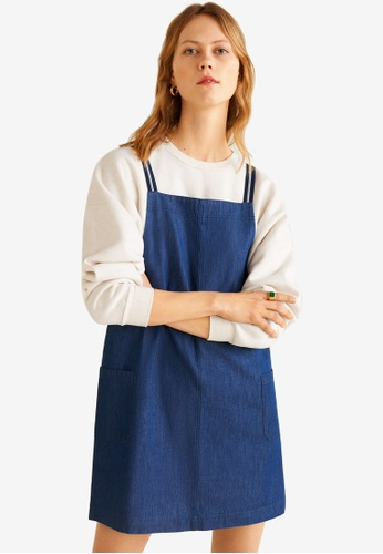 155587a2fcf0 Shop Mango Dark Denim Pinafore Dress Online on ZALORA Philippines