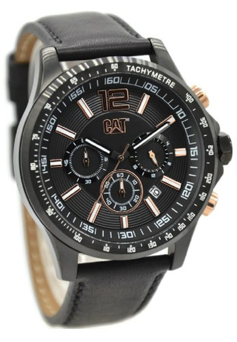 Caterpillar AD16334139 Jam Tangan Pria Leather Strap Hitam Rosegold