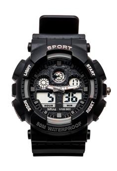 XINJIA Sports Digital Men Black Rubber Strap Watch 860Z