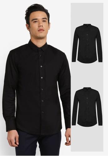 ZALORA black 2 Pack Skinny Fit Oxford Long Sleeve Shirt ZA919AA0FKGHSG_1