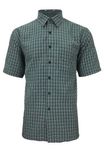 Pacolino green Pacolino - Korea Polynosic Wrinkle Free Checker Formal Casual Short Sleeve Men Shirt D13F3AAA97AC65GS_1