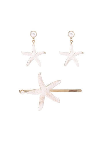 Red's Revenge white 2-in-1 Starfish Hair Clip & Earring Set A5967ACBA9C1E2GS_1