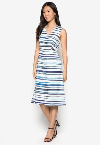 條紋寬管裹式連zalora時尚購物網的koumi koumi身褲, 服飾, 連身褲