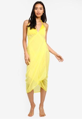 PINK N' PROPER yellow Mira Chiffon Beach Cover Up Dress 9BDC3US658BC1BGS_1