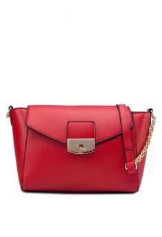 Saffiano Texture Mini Sling Bag with Metal Turn Lock