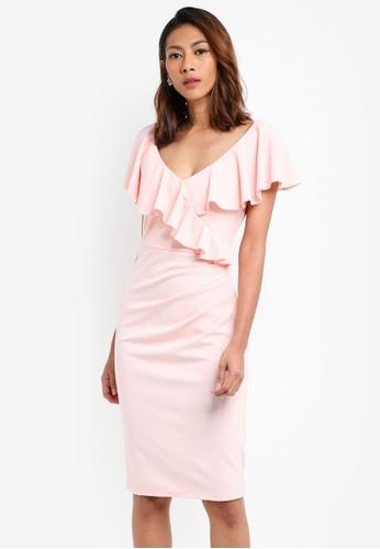 Goddiva pink Frilled V Neckline Midi Dress B8411AA3D32ED6GS_1